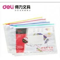 得力deli文具 5524透明塑料拉链袋_A5文件袋