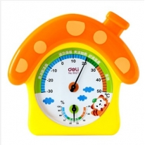 得力(deli) 9021 蘑菇小屋温度计_温湿度计 橙色