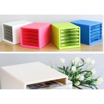 得力五层文件柜 彩色办公桌面收纳柜 A4抽屉式文件资料柜