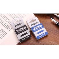 得力S633钢笔墨囊水笔囊墨胆 黑色/蓝色可替换墨水钢笔替芯5支装