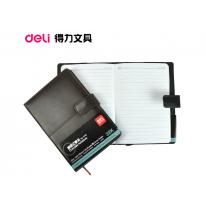 得力皮面笔记本7943 32K皮质日记本记事本子 120张