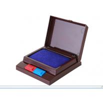 得力印台9850 双色半自动双色印泥油 便捷 办公财务用品 红/蓝色
