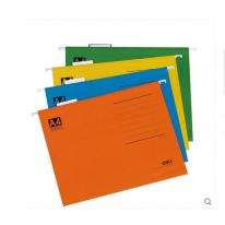 得力吊挂式快劳夹A4挂快劳文件夹彩色纸质文件夹 25个/盒