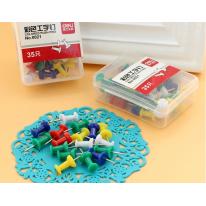 得力3盒105只NO.0021彩色工字钉