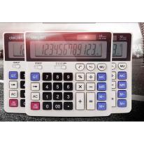 得力(deli)双电源电脑按键财务计算器 12位大屏横式桌面计算机 白色2136